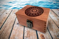 Mandala Wood Stash Box Engraved with Metal Latch Rolling Papers Wooden Decorative Premium Quality Gift for Home Decoration (Mandala)
