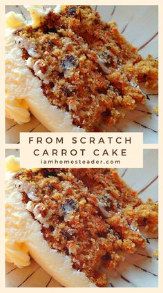 From-scratch carrot cake Carrot cakes are traditionally less fussy than many other layer cakes, making it ideal for beginners. However, the flavors are so amazing its ideal for any age to enjoy!Visit for more delicious mouth watering recipes and fresh fro Moist Carrot Cakes, Best Carrot Cake, Food Cakes, Cupcake Cakes, Carrot Cake Cupcakes, Cake Recipes From Scratch, Homemade Cake Recipes, Comfort Food, Savoury Cake