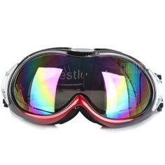 Euopean O - Flame Design Red Snowmobile Ski Goggle Windproof Eyewear - Large Size