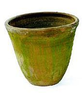 How to faux paint a terra cotta pot to look like a glazed pot.  Maybe try in blue?
