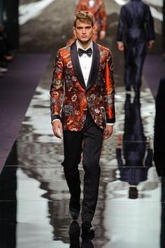 Louis Vuitton A/W 2013 Menswear. Love the oriental smoking style jacket & dickie bow tie.