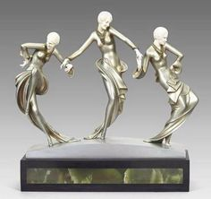 Art Deco bronze group.