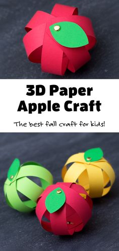 3D Apple Craft - Includes a FREE printable template for kids! #3D #applecraft #paperapplecraft Fun Arts And Crafts, Crafts For Kids To Make, Projects For Kids, Easy Crafts, Kids Crafts, Creative Activities For Kids, Craft Activities, Preschool Crafts, Business For Kids