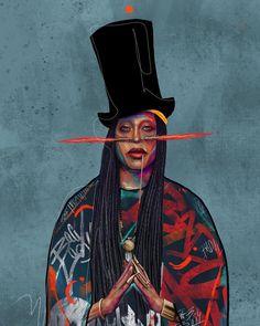Badu Vibes. Muse @erykahbadu  Art via @chuckstyless  - African Origins, Canvas Artwork, Graffiti Art, Black Art, Art Forms, Fine Art, Superhero, Cool Stuff, Prints