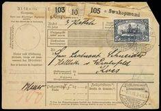 "1906 (6 Nov.) parcel card to Koes via Lüderitzbucht (8.11) and Keetmanshoop (15.12), bearing 3m blackish violet (Michel 22), cancelled by ""Swakopmund/Deutsch-/Südwestafrika"" segmented c.d.s., the pa"