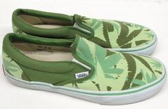 RARE Vans Pot Leaf Green Canvas Slip On Skate Shoes