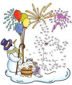 Ausmalbild Malen nach Zahlen: Malen nach Zahlen: Silvester kostenlos ausdrucken Mazes For Kids, Maze Game, Crochet Art, Preschool Worksheets, Math Classroom, Winter Activities, Le Point, Creative Kids, Christmas Crafts