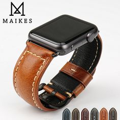 MAIKES genuine cow leather watch accessories for apple watch strap brown apple watch band iwatch 4 bracelet Bracelet Iwatch, Cool Watches, Watches For Men, Brown Apple, Dark Brown, Apple Watch Bands 42mm, Bracelet Cuir, Leather Watch Bands, Cow Leather