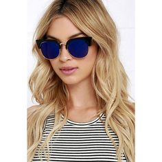 Wings Black and Blue Mirrored Sunglasses ($16) ❤ liked on Polyvore featuring accessories, eyewear, sunglasses, black, mirror lens sunglasses, mirrored lens sunglasses, gold glasses, a.j. morgan sunglasses and mirrored sunglasses