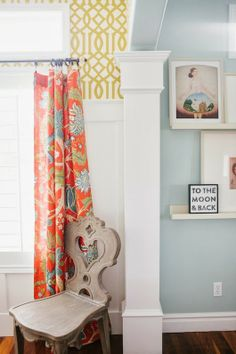 6th Street Design School: THE STORY OF A ROOM: THE FINISHED ROOM - I love the wallpaper with the curtain fabric and all the bright white moldings. Also love the paint color in adjoining room.