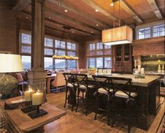 like the island and the wood column accents