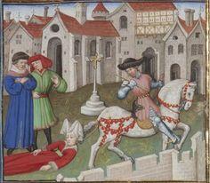 Lady dragged from a horse's tail. From Guiron le Courtois, c. 1420 (Paris). BNF Français 357, fol. 337v. Bibliothèque nationale, Paris.