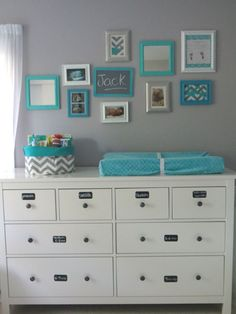 Gray and aqua nursery. I love the labels on the dresser, it's a nice way to ease the putting-away of clothes for other family members *coughhusbandcough*.