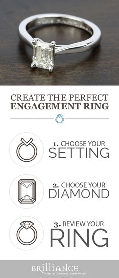 Create your perfect engagement ring! Start with a beautiful setting, add your choice of emerald diamond and see it all come together!