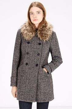 Coats & Jackets | Purple Extreme Faux Fur Collar Coat | Warehouse ...