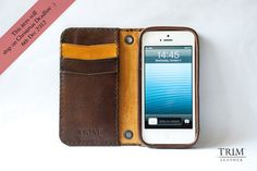 iPhone 5 Vintage leather wallet handmade by TRIMleather on Etsy, $99.00