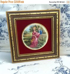 SHABBY Chic Wall Decor Antique porcelain medallion framed in gold with red velvet Stafford England by StudioVintage on Etsy