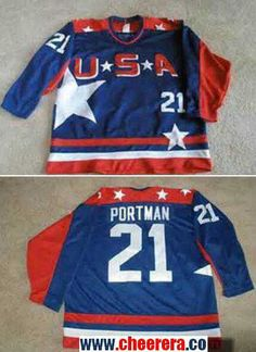 Men s The Movie The Mighty Ducks  21 Portman Blue Team USA Stitched Ice Hockey  Jersey 2a9d94de3