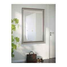 Hovet mirror aluminum ikea and mirror for Miroir ikea songe