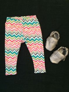 Chevron Baby Leggings and Baby Moccs! Summertime cuteness! Available at www.etsy.com/shop/jbabyapparel
