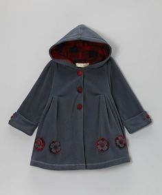 Take a look at this Dark Gray Flower Hooded Swing Coat - Toddler & Girls by Maria Elena on #zulily today!