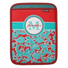 Monogrammed Blue, Red, White Damask iPad Sleeve