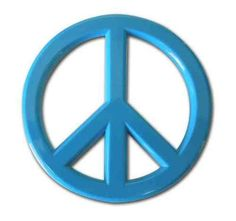 Peace Sign Blue Car Emblem