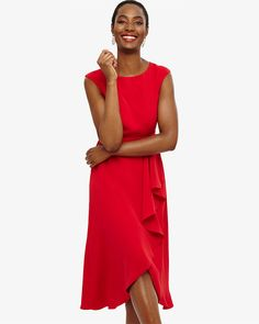 Phase Eight Rushelle Frill Dress Red