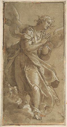 A Standing Angel and two Cherbus -  Ascribed to Federico Zuccaro (Zuccari) (Italian, Sant'Angelo in Vado 1540/42–1609 Ancona)   #TuscanyAgriturismoGiratola