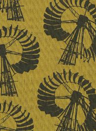 Karroo windmills - beautiful material! This appears to be silk screened onto cotton. the iconic image of windmills pulling water from the parched earth.