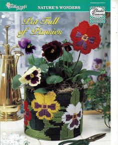 Pot Full of Pansies Plastic Canvas Pattern The Needlecraft Shop 954011 on Etsy, $2.50