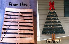 Christmas tree pallet makeover!  Cut a pallet into the shape of a tree, add a wooden base, paint slats green, and finish with lights and a bow on top! Perfect decoration for a front porch or patio.