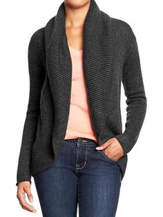 KNITS are a big trend for FALL 2014. I like this one because it is a great, versatile length... charcoal is a very wearable and versatile color... no weird asymmetrical hem... and perfect price! $44 - Old Navy BusbeeSTYLE.com