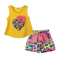 LUQUAN Girls Colorful Heart Shaped Bow Vest Flower T Shirt + Short Set Clothing 8 Years,Yellow. Imported<br>Suitable for ages in children (6 -12 years old)<br>Cotton Blend Material, Soft and Breathable<br>Free shipping delivery in 7-15 working days.<br>We are using Asian size,please note the size detail below product description<br>The size is small,Please choose one size larger before you buy! Thanks. 8 Years,Yellow.