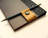 Purple Leather Bookmark with Vintage Skeleton Key-Pencil Holder-Handmade. $9.00, via Etsy.