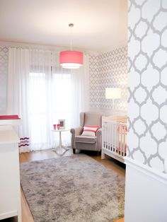 Gray and White Nursery with Pops of Hot Pink - so chic!
