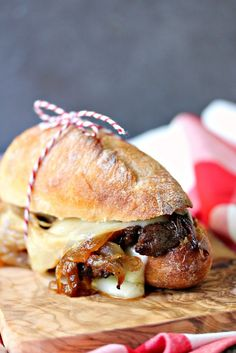 Steak Sandwiches with Caramelized Onions and Provolone Cheese | Cravings of a Lunatic- Featured on #HomeMattersParty 99