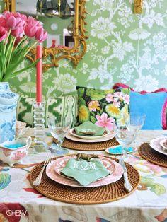 green and pink table via Chez V