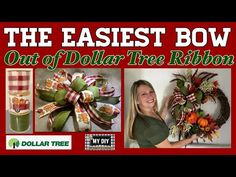 Christmas Decorations For Kids, Decorating With Christmas Lights, Fall Mantel Decorations, Christmas Ideas, Christmas Crafts, Ribbon Bow Tutorial, Mesh Wreath Tutorial, Diy Tutorial, Dollar Tree Christmas