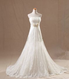 New Arrival Elegant White Lace A line Empire by Honxuredress, $209.99