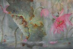 "Darlene Kaplan - Chinese art, chinese art paintings, asian art,Oriental brush paintings,sumi-e art,chinese watercolor art,artist,Chinese brush paintings, oriental brush paintings,chinese waterolor paintings,sumie art.""Lotus in Rain""My art is ""Food for the Soul"""
