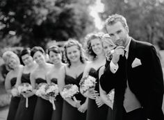 Cute photo of the groom with bridesmaids! See more from this classy brown Nashville wedding in the fall by @zooom113!   The Pink Bride www.thepinkbride.com