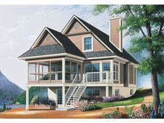 027h 0071 Two Story Waterfront House Plan Designed For A View 1484
