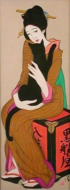 黒船屋。大正時代の流行画家、竹久夢二の作品。 1919年(大正8年)
