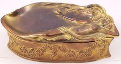 """Benedict Art Nouveau Nude Casket Box 926 Metal Jewelry or Trinket Box 8"""" AS IS #ArtNouveau #Benedict"""