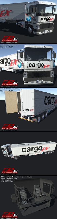 GR3D European Truck Trailer * Truck Body: 14220 tris * Truck Interior: 2689 tris * Can be set up with or without interior * Separated steering wheel object * Separated doors with correct pivots * Truck Wheels (4) HD: 10224 tris * Truck Wheels (4) LD: 3324 tris