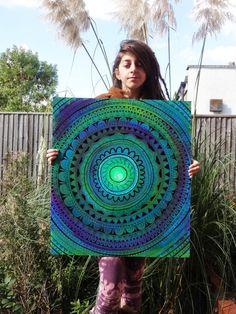 Painting Large Painting Original Mandala by SophiasIllustration