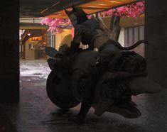Bike Mount by madspartan013, Urban Legends: Tale of the Cyber King, Digital Painting, Neko, Cat Girl, Inspirational Art, Japan