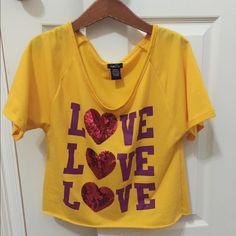 Purple & Gold Cropped Shirt Cute purple & gold cropped top. L💗VE! Rue 21 Tops Crop Tops