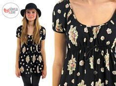 années 90 Betsey Johnson Floral Baby Doll Top ΔΔ Boho Floral Empire taille Top manches bouffantes ΔΔ xs / sm